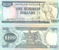 Guyana P31, 100 Dollars, Map / Cathedral $4CV - Guyana