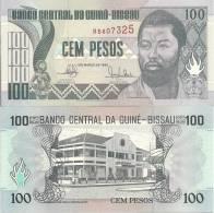 Guinea-Bissau P11, 100Pesos,carving, D Ramos / Banco Central Building - Guinea-Bissau