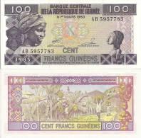 Guinea P30a, 100 Francs, Woman With Headscarf, Female Carving / Banana Harvest - Guinea