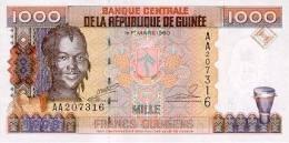 Guinea P37, 1,000 Francs, Girl,drum / Crane At Bauxite Mine $5CV - Guinee