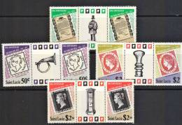 B0142 SAINT LUCIA 1979, SG 509-12, Rowland Hill Centenary, 2 Stamps Plus Vignette From Sheetlets P12 MNH - St.Lucie (1979-...)