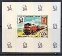 B0145 IVORY COAST 1979, 200F Rowland Hill Centenary IMPERF M-sheet MNH (train, Locomotive) - Upper Volta (1958-1984)
