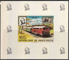 B0146 IVORY COAST 1979, 165F Rowland Hill Centenary IMPERF M-sheet MNH (train, Locomotive) - Upper Volta (1958-1984)