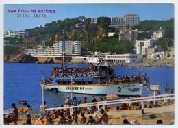 "Espagne--SAN FELIU DE GUIXOLS--Plage Et Bateau Typique ""Cruceros"" (baleine,animée),cpm N°781 éd Catalan Ibarz - Gerona"