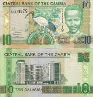 Gambia P26, 10 Dalasis, Sacrid Ibis, Boy / Central Bank UNLISTED DATE - Gambia
