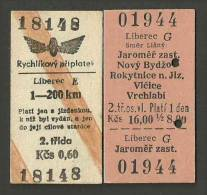QT71 CZECHOSLOVAKIA 2 Tickets From Liberec 1977 & 980 - Railway