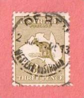 """AUS SC #5 Used - 1913 Kangaroo And Map, W/SON """"PERTH / WESTERN AUSTRALIA"""", CV $17.50 - Used Stamps"""