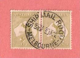 """AUS SC #5 PR Used - 1913 Kangaroo And Map, W/SON  """"SHIP MAIL ROOM /  MELBOURNE"""" W/paper Wrinkle @ UR CNR, CV $35.00 - Used Stamps"""