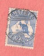 """AUS SC #8 Used - 1913 Kangaroo And Map, W/perf Flt @ LR,  W/SON """"REGISTERED / MELBOURNE / 15 AU 14"""", CV $30.00 - Used Stamps"""