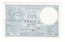 Billet De La BANQUE DE FRANCE  /  DIX  FRANCS , Type MINERVE  ( Alphabet T.70240 , N° 787 ) /  Date  :  6-7-1939  ( NQ ) - 1871-1952 Anciens Francs Circulés Au XXème