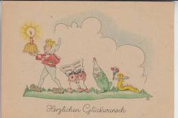 ZWERGE - Gnome, Frosch, Käfer, Raupe, Künstler-Karte H.G. 1946 - Postkaarten