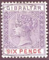 Gibraltar 1898 Six Centimes Violett/karmin Mi#35 Mit Regristed-Stempel - Gibraltar