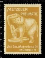 Old Original German Poster Stamp ( Cinderella, Reklamemarke Vignette) éléphant Elephant, Elefant,  METZELER AUTO TIRES - Elephants
