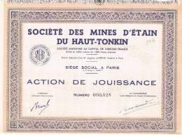 Societe Des Mines D'étain Du Haut-tonkin Mine Action De Jouissance Aktie Share Siege Paris Nd TB - Mines