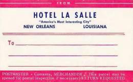 LOUISIANA NEW ORLEANS HOTEL LA SALLE VINTAGE LUGGAGE LABEL - Etiketten Van Hotels