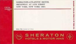 NEW YORK CITY SHERATON ATLANTIC HOTEL VINTAGE LUGGAGE LABEL - Hotel Labels
