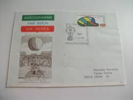 Aerogramme Via Aerea Par Avion  Primo Lancio Dell'aerostato F. Zambeccari - 1981-90: Storia Postale