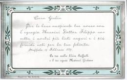 BIGLIETTO PARTECIPAZIONE NOZZE MARCHESA RAFFAELLI E MANCINI TIPOGRAFIA LUCHETTI CINGOLI OSIMO MACERATA ANNO 1887 - Boda