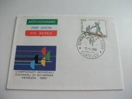 Aerogramme Via Aerea Par Avion  Campionati Mondiali Giovanili Di Scherma Venezia 1980 - 6. 1946-.. Repubblica
