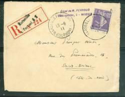 Yvert N° 142 Sur Devant De Lettre Recommandée Oblitéré Marseille Pl St Perréol En 1911  -ax5303 - Marcofilia (sobres)