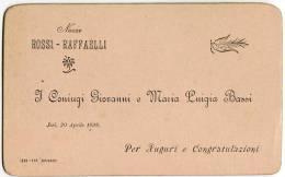 BIGLIETTO PARTECIPAZIONE NOZZE ROSSI RAFFAELLI JESI ANCONA ANNO 1898 TIPOGRAFIA SPINACI - Boda