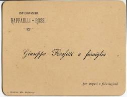 BIGLIETTO PARTECIPAZIONE NOZZE ROSSI RAFFAELLI JESI ANCONA ANNO 1898 TIPOGRAFIA ERCOLANI CINGOLI - Boda