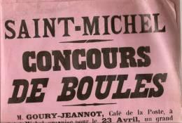 Affichette Saint-Michel En Thiérache Concours De Boules 1933 Café De La Poste Format 30x40cm - Non Classés