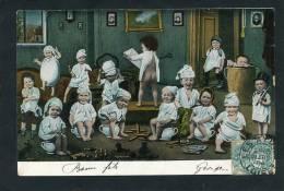ENFANTS - Jolie Carte Fantaisie Bébés Avec Bonnet De Nuit , Sur Le Pot, Avec Jouets.... - Neonati