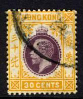 Hong Kong 1912-21 30c Wmk Mult Crown CA VFU - Oblitérés