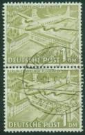 Berlin  1949  Freimarken - Berliner Bauten I - Flughafen Tempelhof  (1 Senkr. Paar Gest. (used))  Mi: 57a/57a (30 EUR) - Berlin (West)