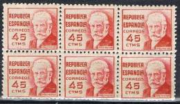 Bloque De 6 Sellos 45 Cts Republica Iglesias 1936, Num 737 ** - 1931-Aujourd'hui: II. République - ....Juan Carlos I