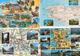 290213I  Lot De 50 CPM/CPSM Couleur : FRANCE / Cartes Géographiques - Cartes Postales