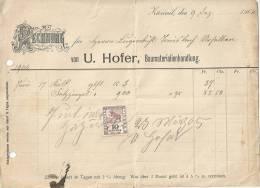 """Rechnung  """"U.Hofer, Baumaterialien, Zäziwil""""           1904 - 1882-1906 Stemmi, Helvetia Verticalmente & UPU"""