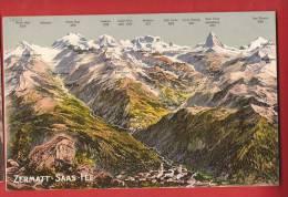 YSA-03 Panorama Visp Zermatt Saas-Fee Stalden, St-Niklaus, Taesch. Nicht Gelaufen. Phototypie - VS Valais