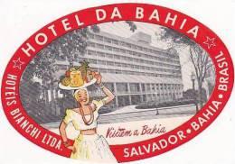 BRASIL SALVADOR BAHIA HOTEL DE BAHIA VINTAGE LUGGAGE LABEL - Hotel Labels