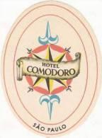 BRASIL SAO PAULO HOTEL COMODORO SMALL VINTAGE LUGGAGE LABEL - Hotel Labels