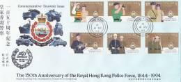 Hong Kong 1994 150th Anniversary Of Police Force FDC - Hong Kong (...-1997)