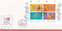 Hong Kong 1996  Year Of The Rat  Souvenir Sheet  FDC - Hong Kong (...-1997)