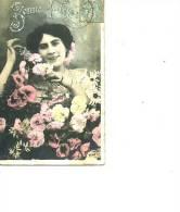 BONNE FETE AVEC ROSES  FEMME 1905 - Mujeres