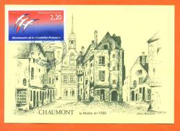 """Dpt  52  Chaumont  """" Carte Maximum Bicentenaire 01/01/1989 - Chaumont"""