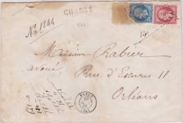 9307# NAPOLEON 22 + 24 / LETTRE CHARGE DESCRIPTIF AU DOS Obl NANCY 1865 MEURTHE Pour ORLEAND LOIRET - Marcophilie (Lettres)