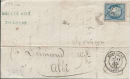 LT3735 N°60/Lettre, Oblit GC 3982 TOULOUSE(30) Pour ALBI(77) Du 11 Oct 1871,  Cachet Au Dos - 1871-1875 Ceres