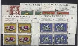 Schweiz Michel No. 657 - 661 ** postfrisch Viererblock Eckrand