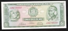 PEROU   PERU P92   5  SOLES   1968    UNC. - Perú