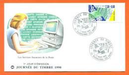 FDC  Bourbonne Les Bains (52) 1er Jour  - Journee Du Timbre 17/03/1990 - 1990-1999