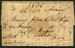 Pli De S GRAVENHAGE De 1830 Pour BREDA En Port Payé Avec La Marques SGRAVENHAGE 18 APR  + FRANCO - Pays-Bas