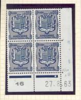 ANDORRE FRANCAIS - Y&T N° 153A -  Coin Daté  4 TP **  Du 27/08/1963 - Unused Stamps