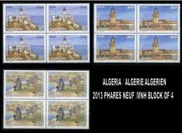 Algeria/Algérie/Algerien 2013 LIGHTHOUSE / Les Phares  BLOCK OF 4 - Algerien (1962-...)