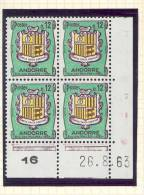 ANDORRE FRANCAIS - Y&T N° 155A -  Coin Daté  4 TP **  Du 26/08/1963 - Unused Stamps