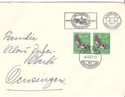 Brief Mit Werbeflagge 75 JAHRE GOTTHARDBAHN 1882-1957 Nach Oensingen - Trains